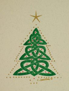 Knotwork Christmas Tree Gocco Print 1995