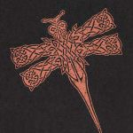 Knotwork Dragonfly Gocco Print (on black)