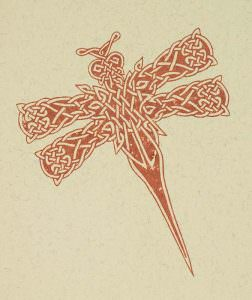 Knotwork Dragonfly Gocco Print (on natural)