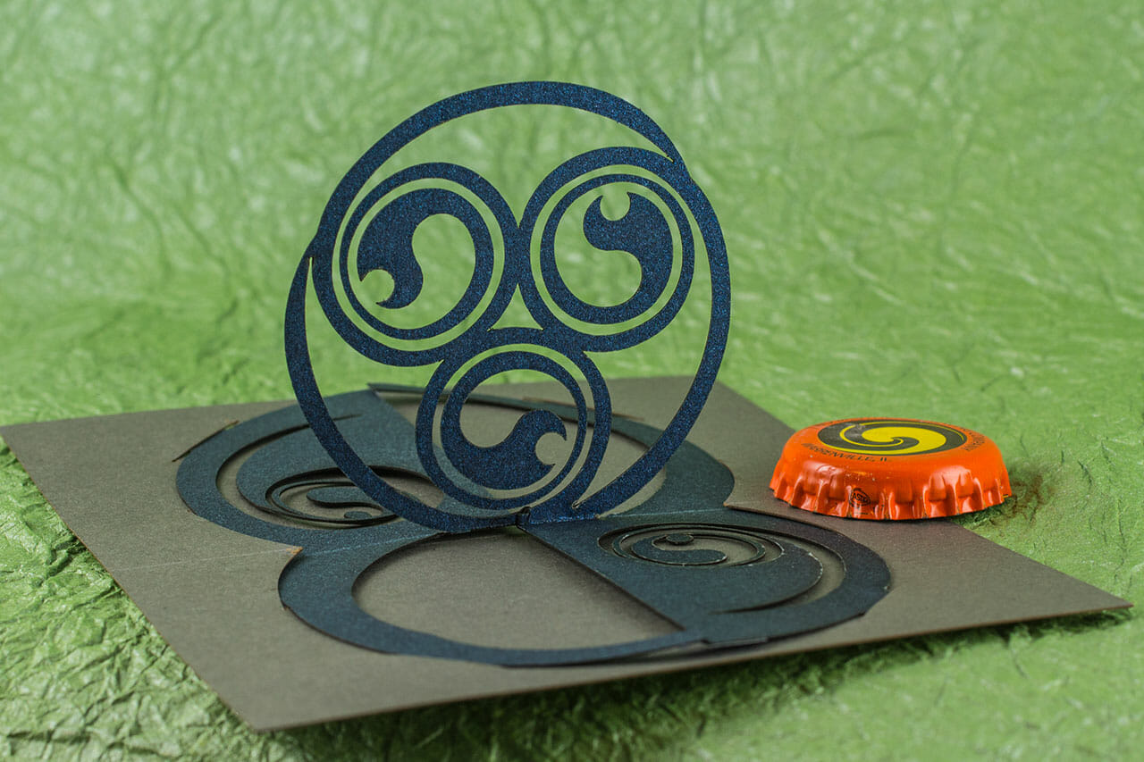 Celtic Triskelion Twist Crest Origamic Architecture Card