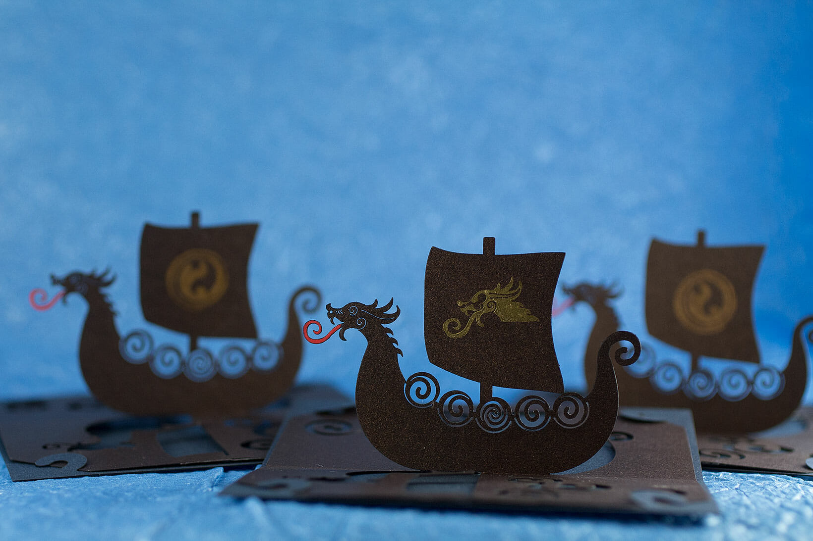 Viking Longship Origamic Architecture Pop Up Card