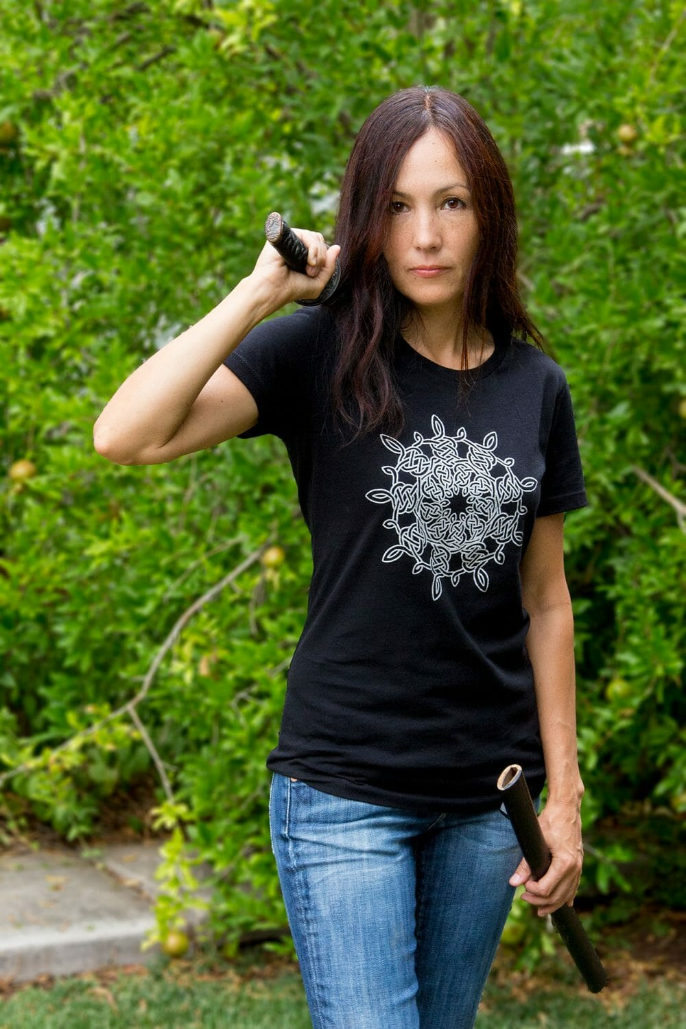 Silver Snowflake Celtic Knotwork Women's Fitted T-Shirt