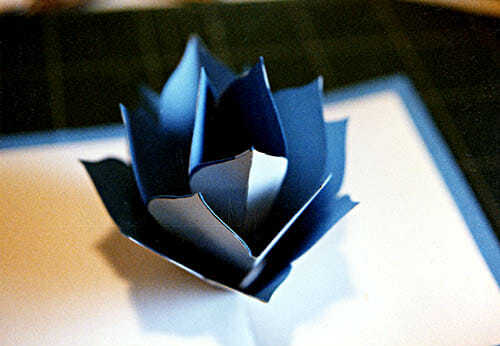 Blue Lotus Origamic Architecture Pop Up Card by Andrew Crawford