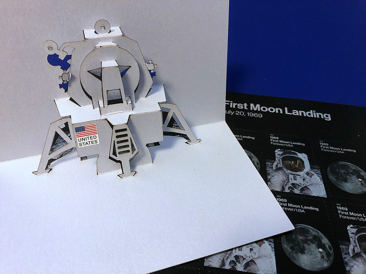 Lunar Lander Pop Up Card with Stamps