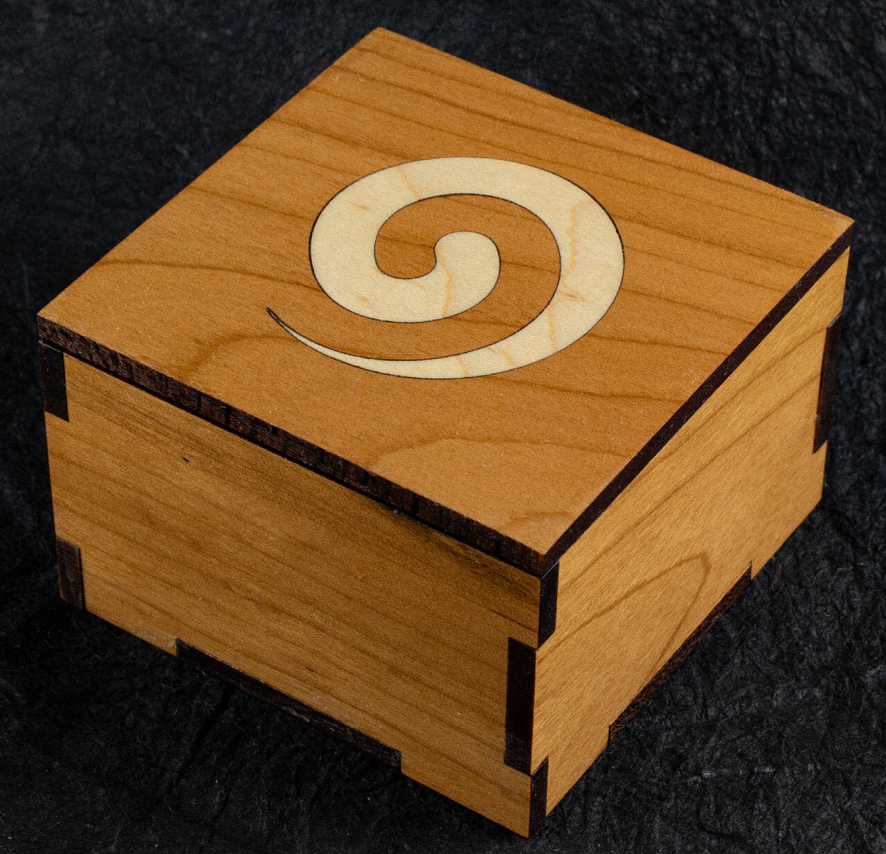 Cherry Hardwood Box with Maple Celtic Spiral Inlay