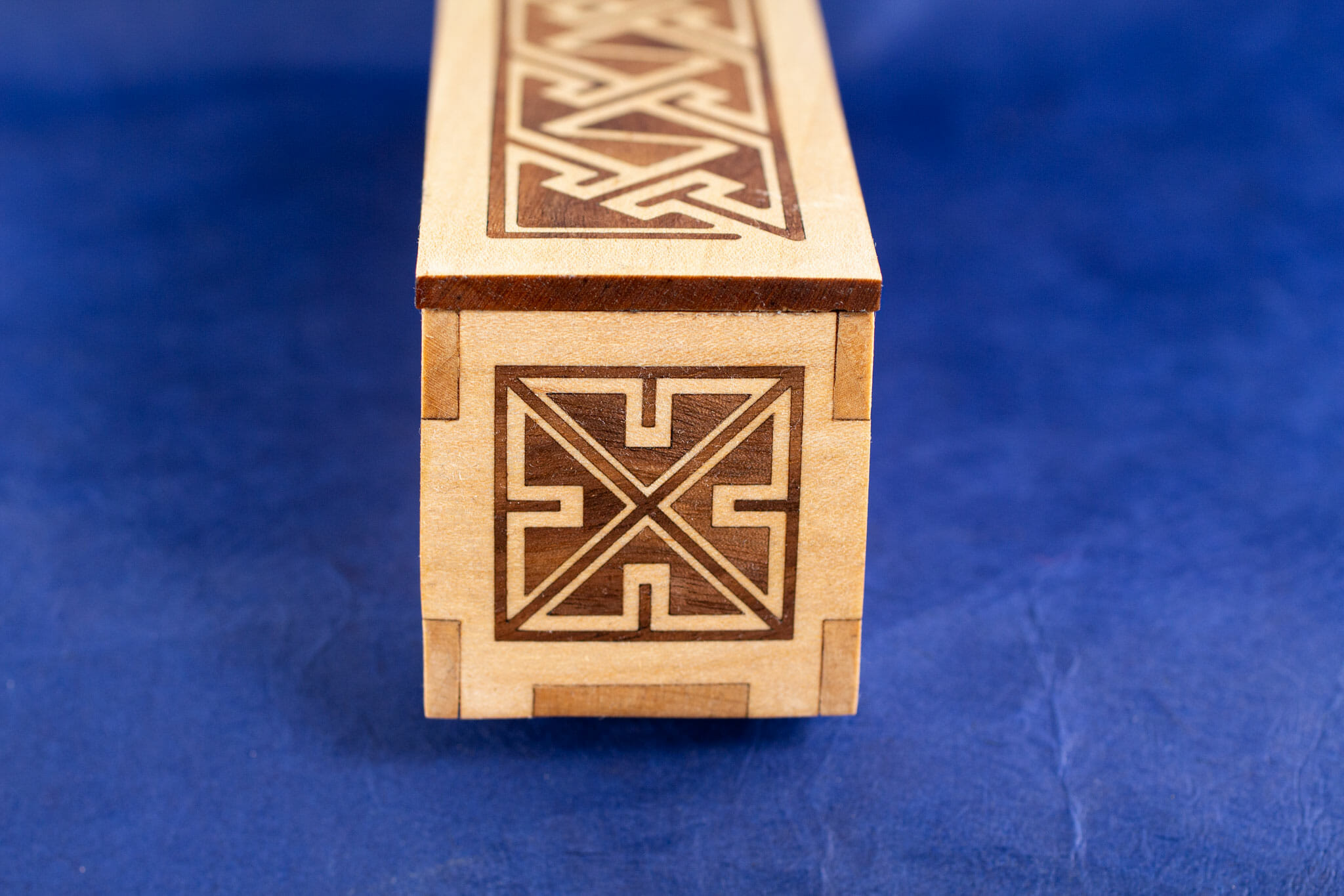 Long Inlaid Celtic Key Pattern Box (end view)
