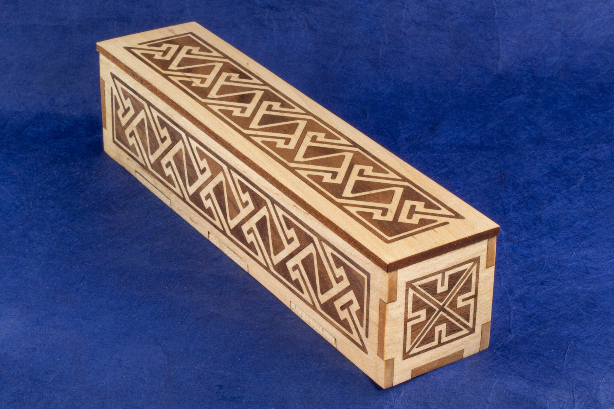 Long Inlaid Celtic Key Pattern Box