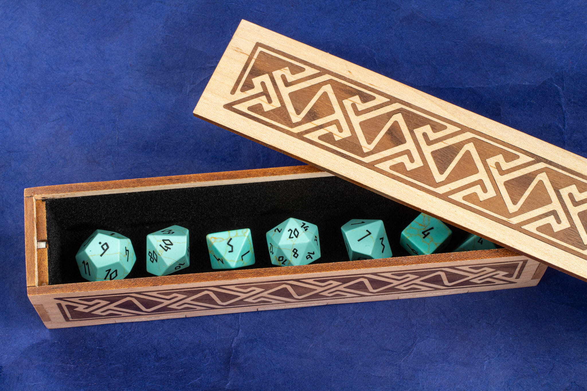 Long Inlaid Celtic Key Pattern Box / Dice Vault