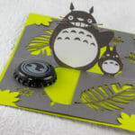 Totoro Twisted-Crest OA/Kirigami Pop Up Card (Bottle Cap for Scale)