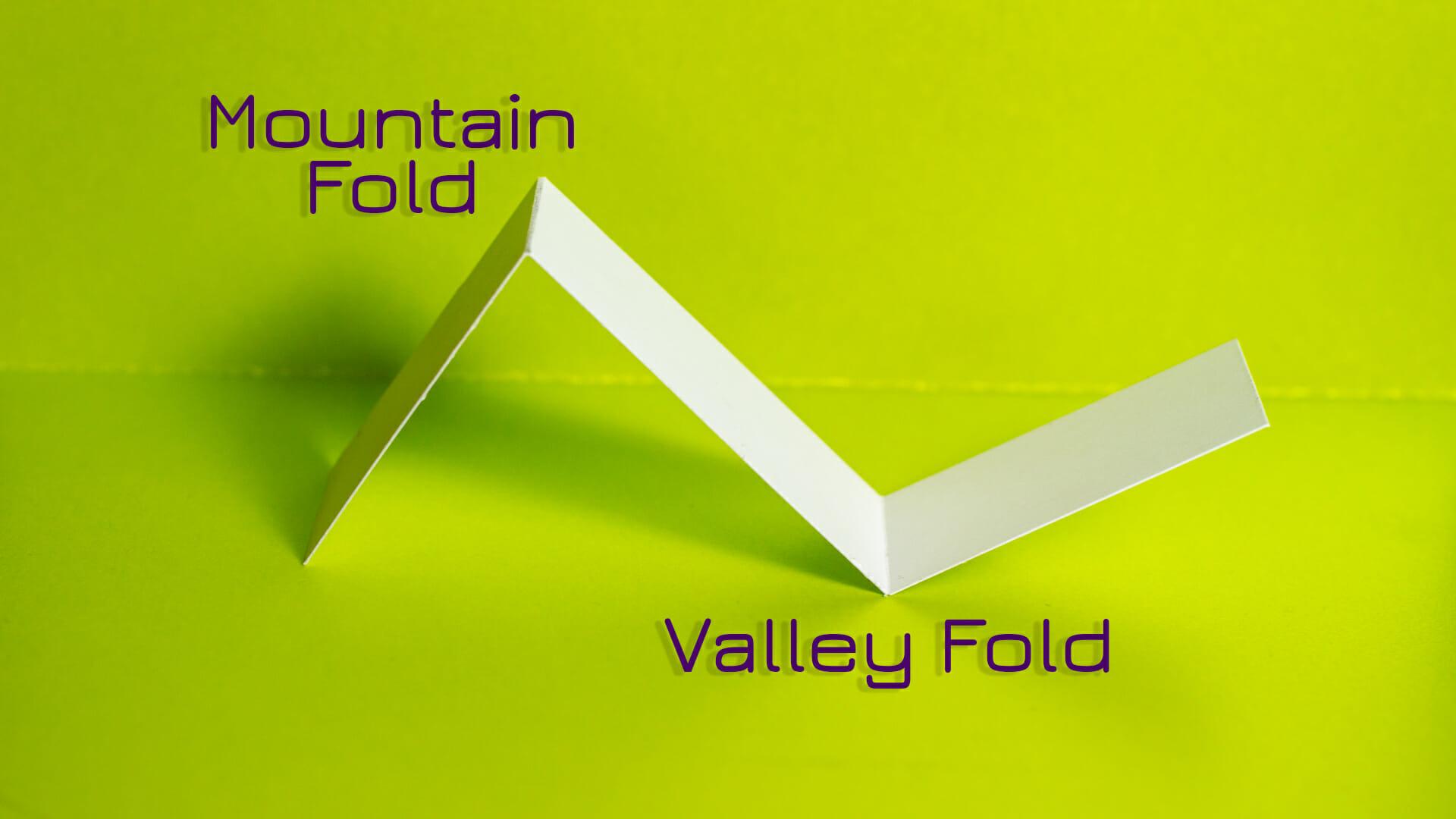 mountain folds vs. valley folds