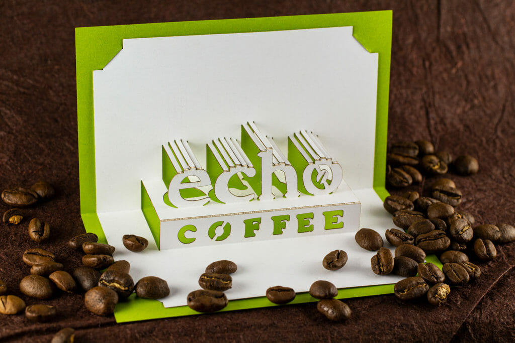 Echo Coffee Logo Origamic Architecture / Kirigami Pop Up Card