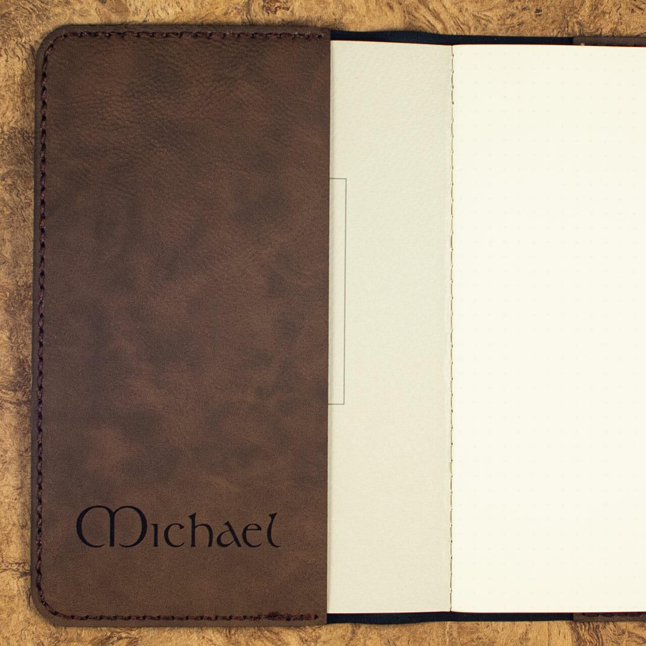 Celtic Snowflake Journals (Dark Brown – Personalized Flap)