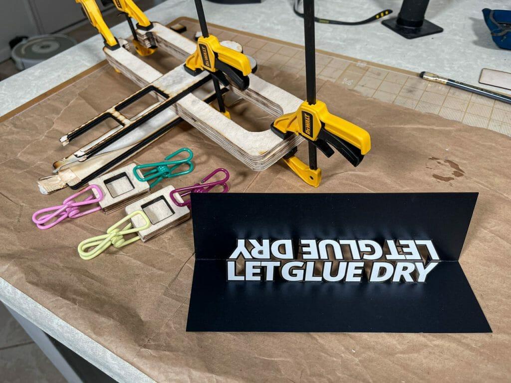 Let Glue Dry Pop Up Card (Block Font)