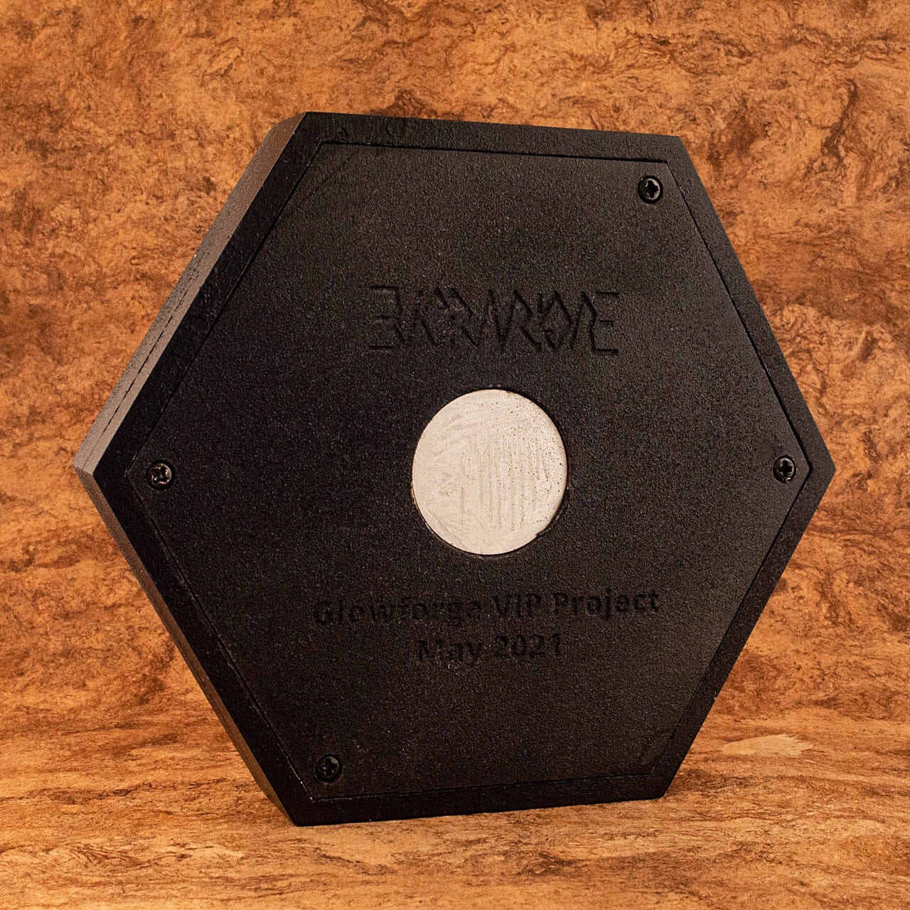 Glowforge forum Regulars community project 2021 Hexagon (back)