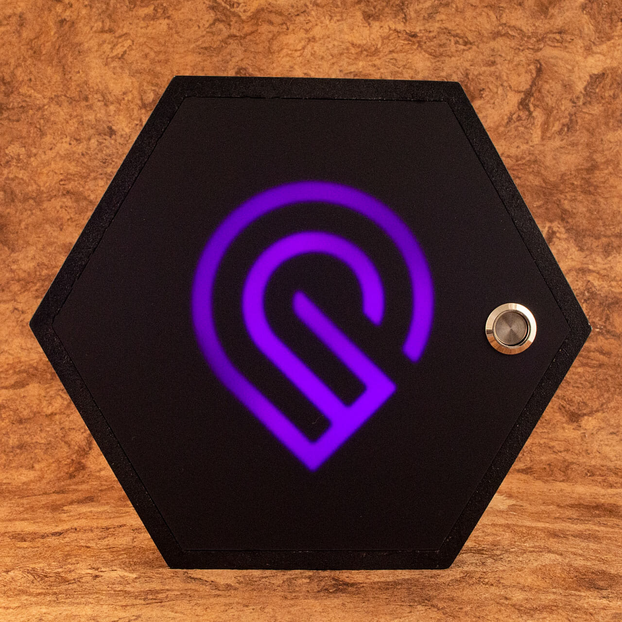 Glowforge forum Regulars community project 2021 Hexagon (purple)