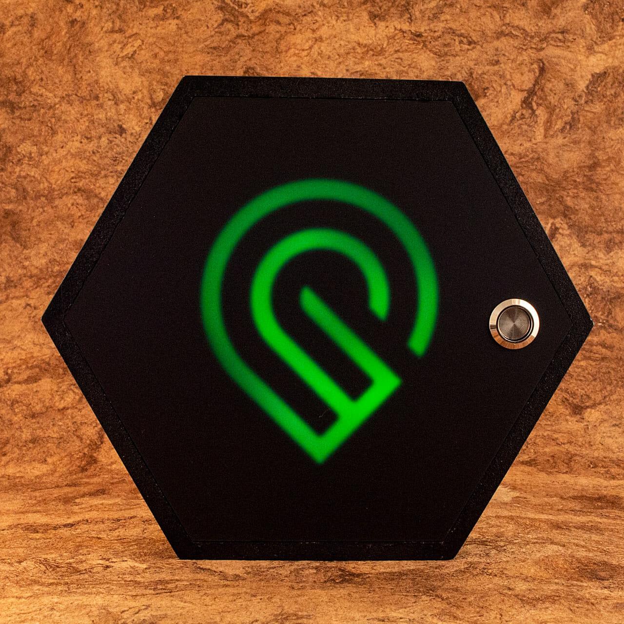 Glowforge forum Regulars community project 2021 Hexagon (Green)