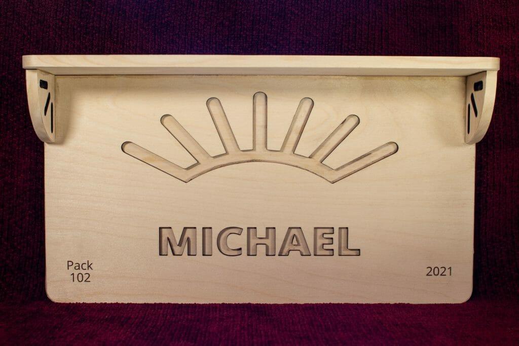 Arrow of Light plaque + shelf (front)