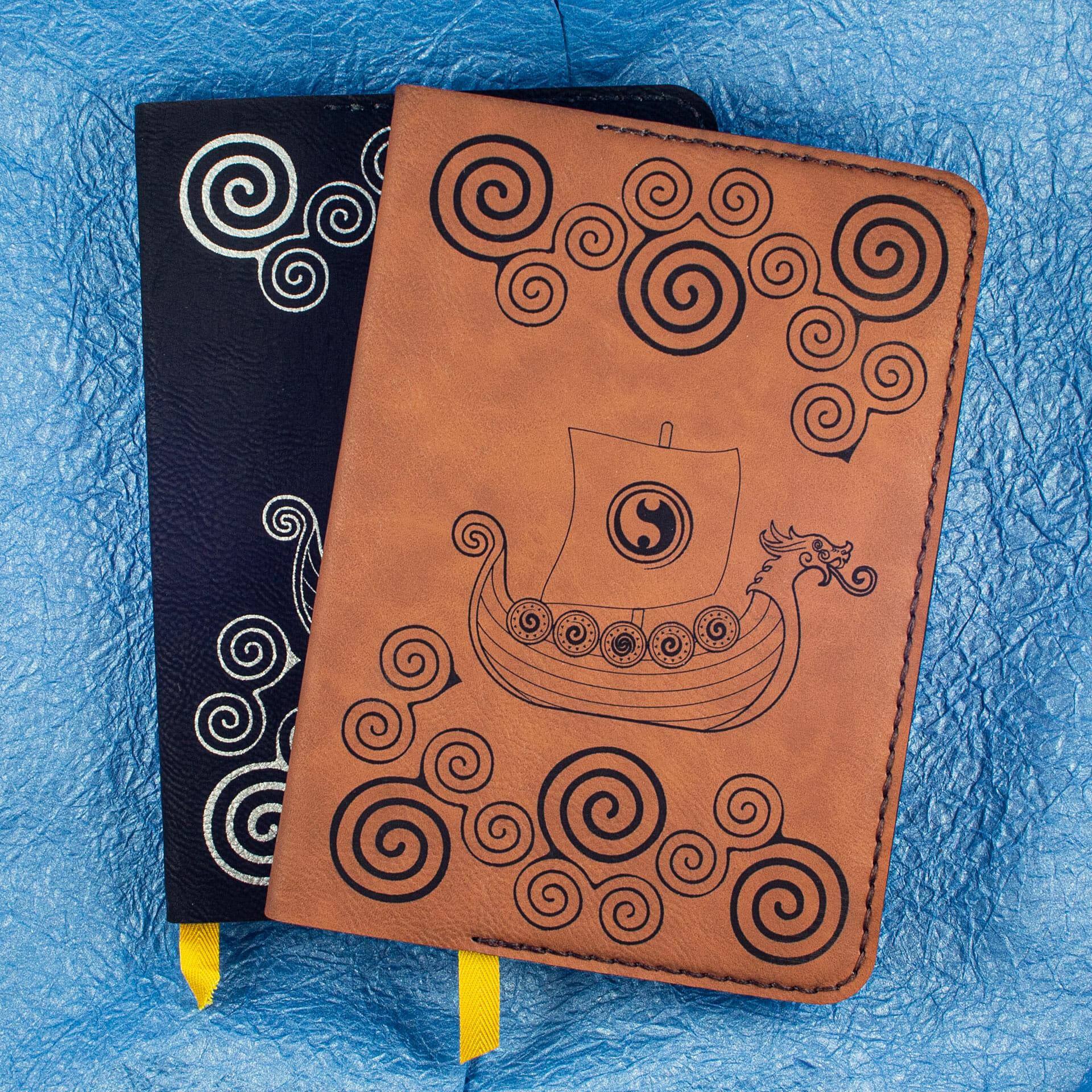 Viking Longship Design on Hardcover Notebooks (Brown)