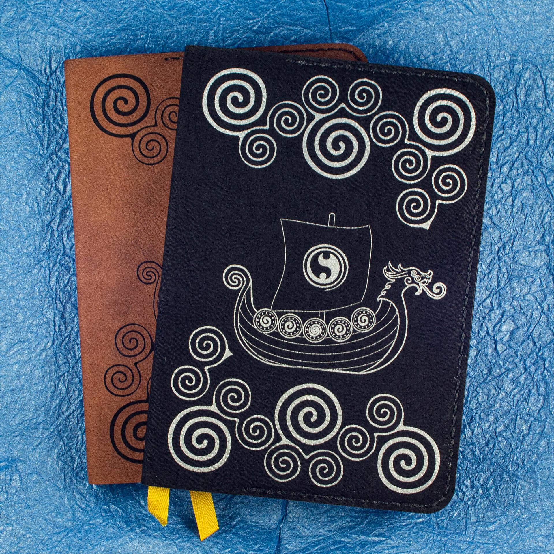 Viking Longship Design on Hardcover Notebooks (Black)