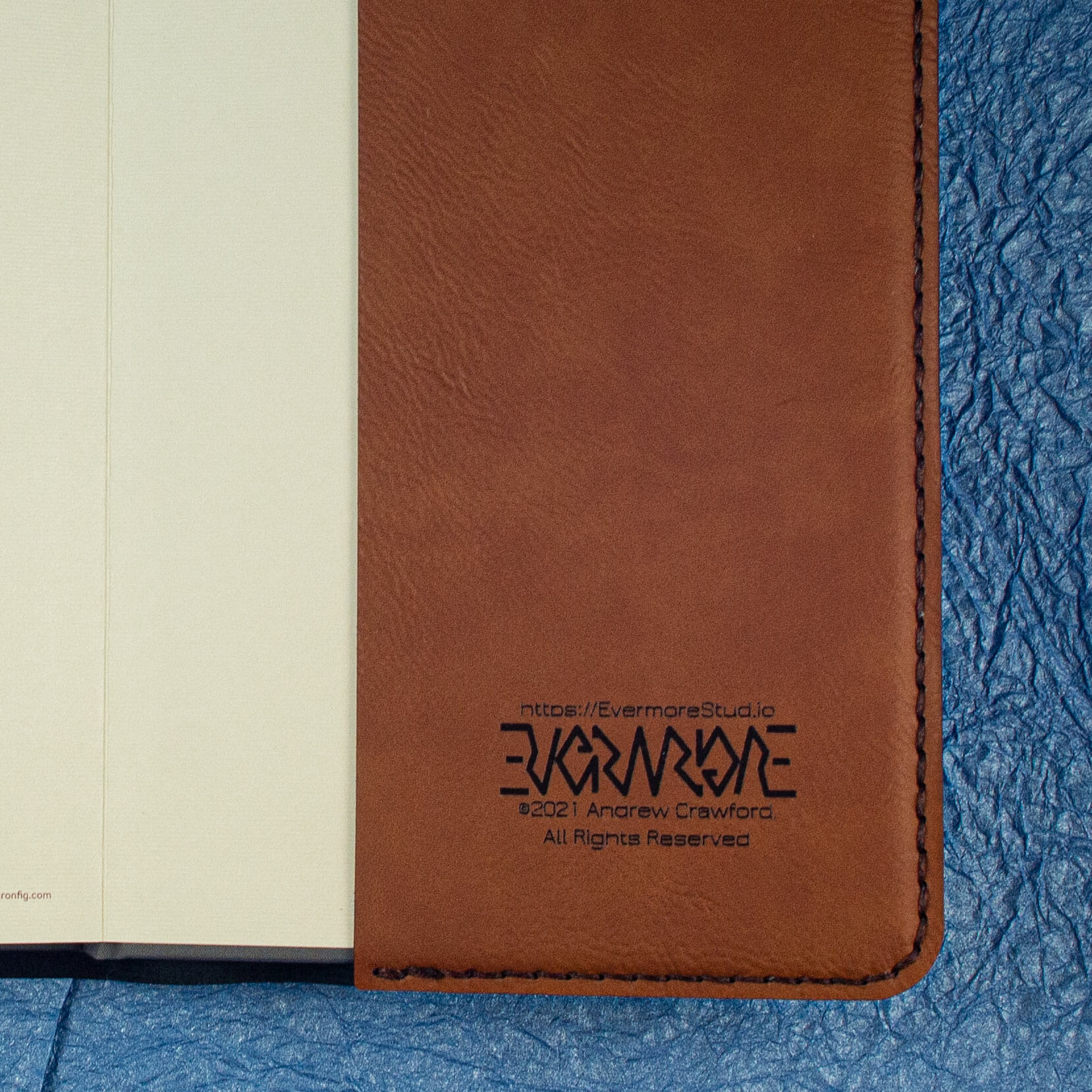 Notebook Cover Engraving Detail (Brown)