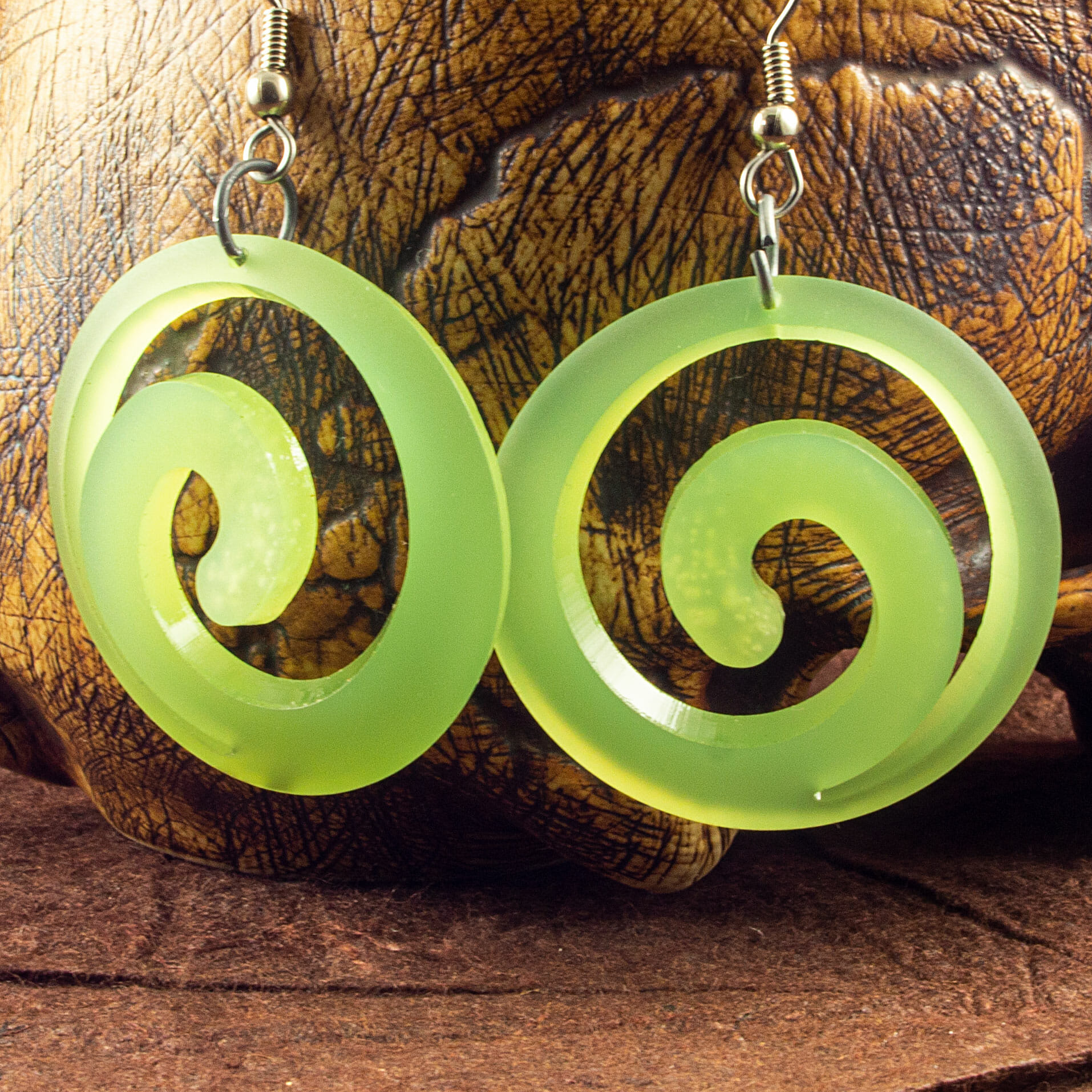 Translucent Kiwi Green Dished Acrylic Spiral Earrings