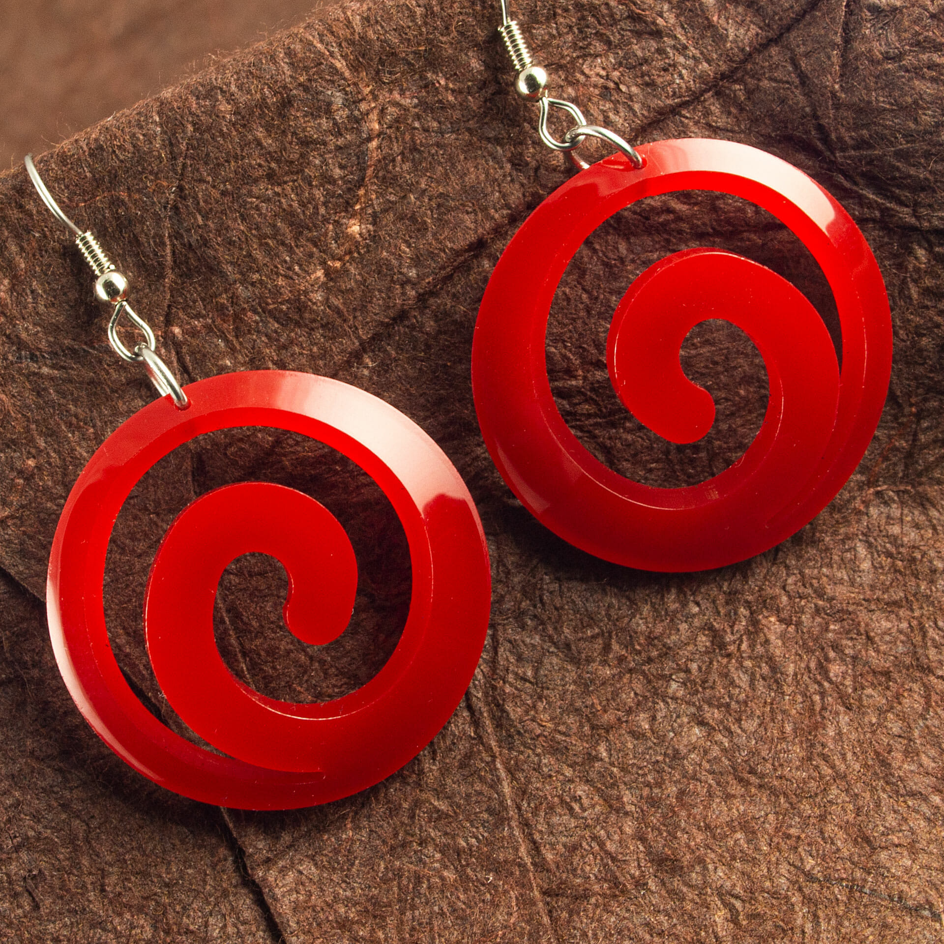 Red Dished Acrylic Spiral Earrings