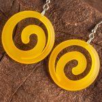 Translucent Orange Dished Acrylic Spiral Earrings