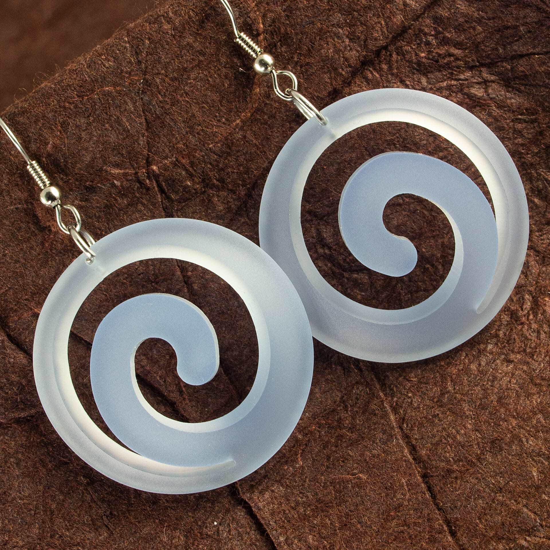 Translucent Pastel Blue Dished Acrylic Spiral Earrings