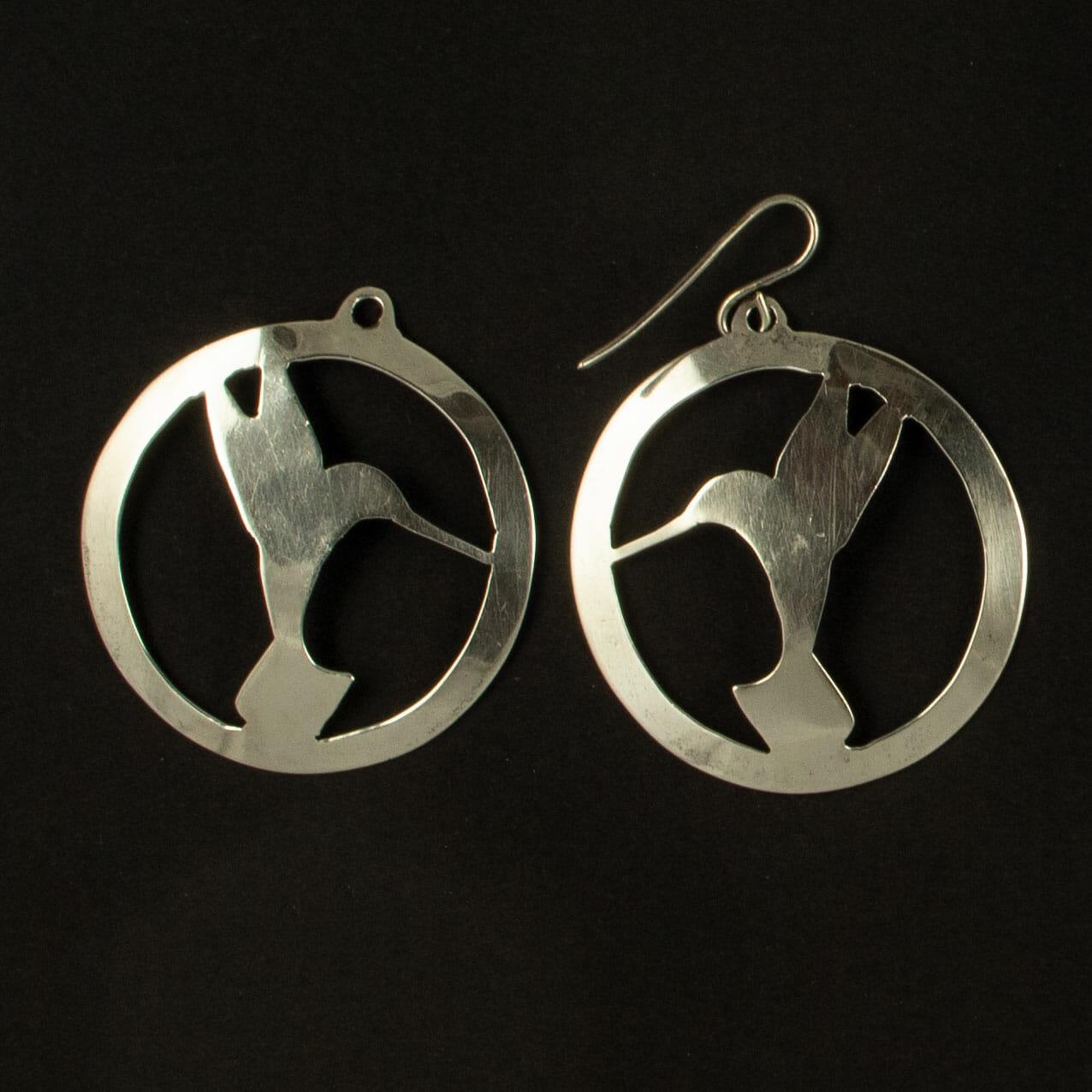 Silver Piercedwork Hummingbird Earrings by H. Clay Sibley
